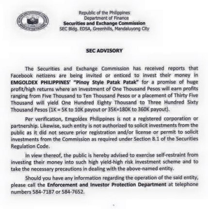 SEC Advisory On Emgoldex Philippines