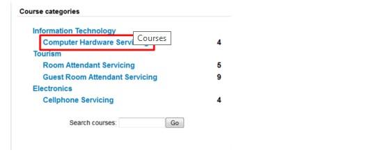 tesda online training choose course
