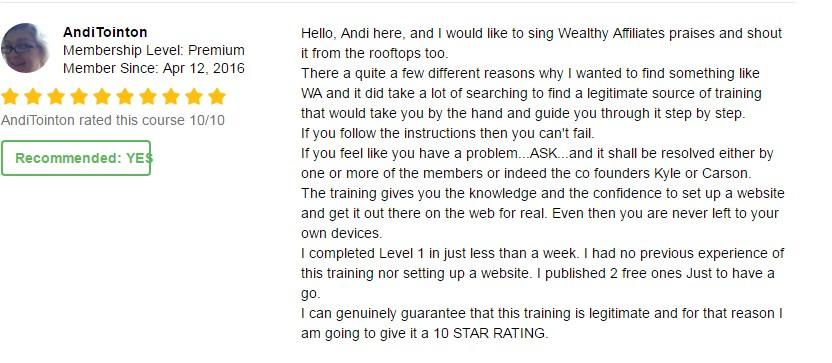 wealthy affiliate testimonial 3